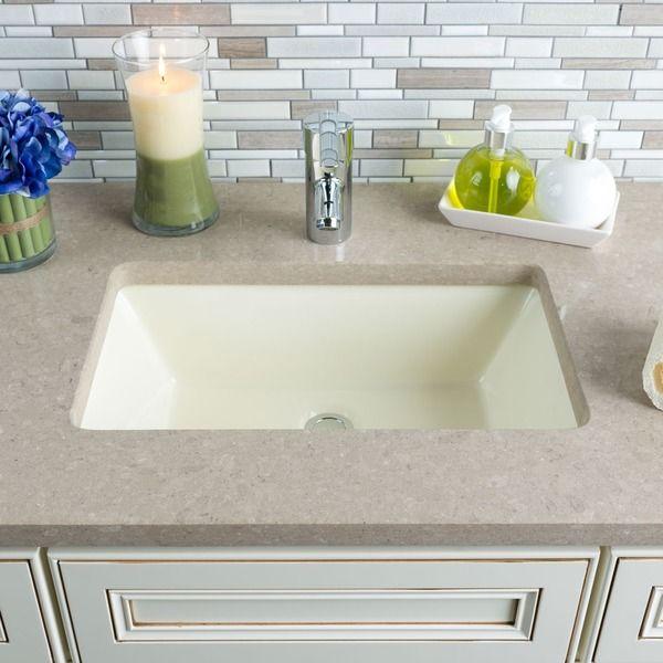 Hahn Ceramic Bisque Large Rectangular Bowl Undermount Bathroom Sink By Hahn