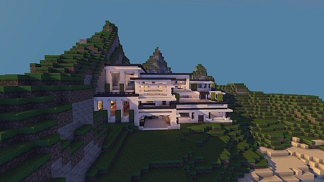 Looking for your next minecraft project?, then why not try and build this awesome looking Cliff Side Mansion. #minecraft