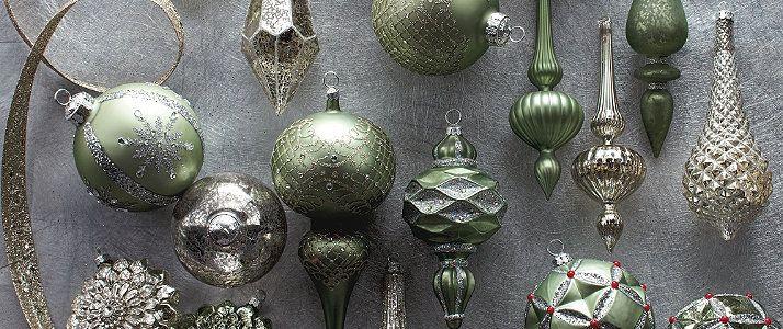Ornament Sets - Ornament Collections - Unique Ornament Sets - Frontgate..... SAGE AND SILVER