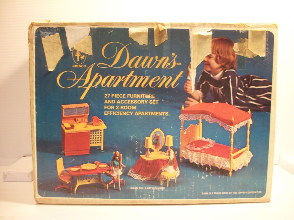 Vintage 1969/70 Amsco Dawn's Apartment Doll Furniture w Box 2 Rooms Efficiency