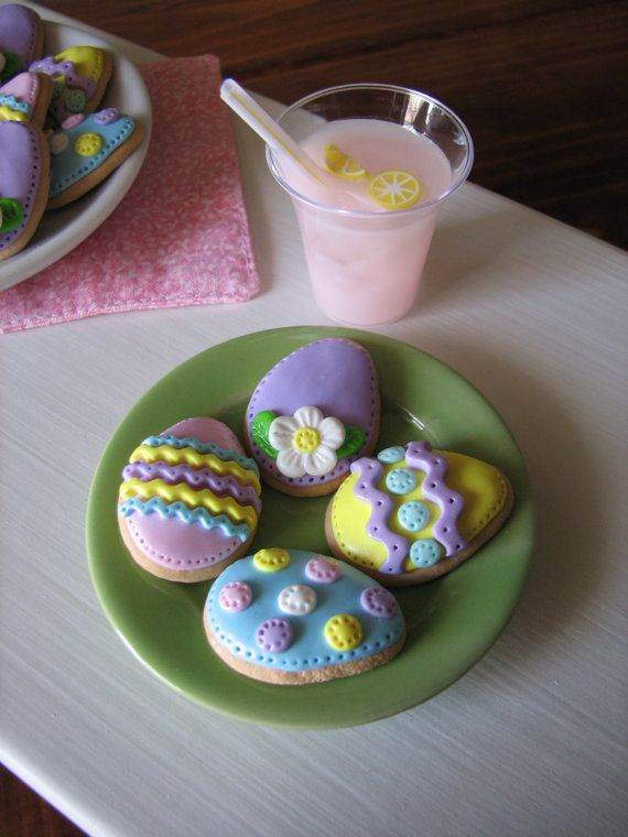 "Decorated Easter Egg Sugar Cookies sized for the American Girl/18"" Doll on Etsy, $16.00"