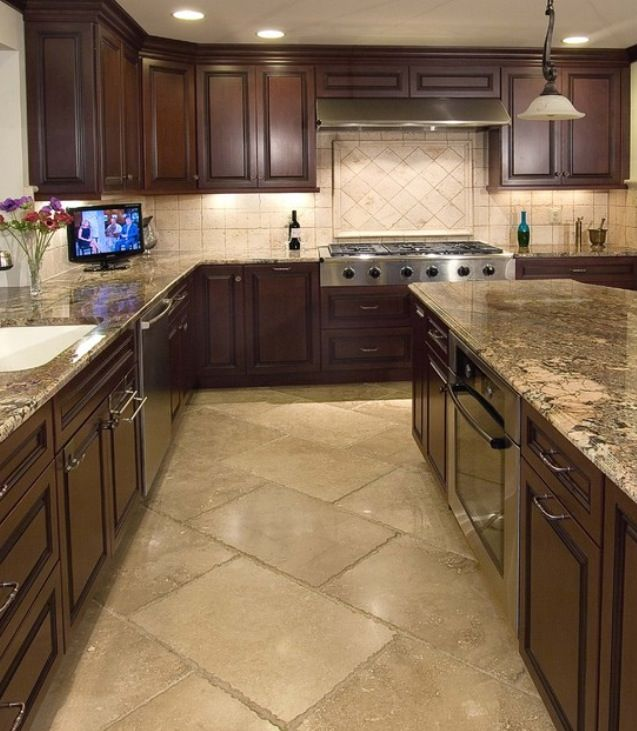 Travertine Floor White Cabinets Travertine Countertops: Travertine (probably Toreon) Brickset At An Angle With A Matching Travertine Backsplash Is A