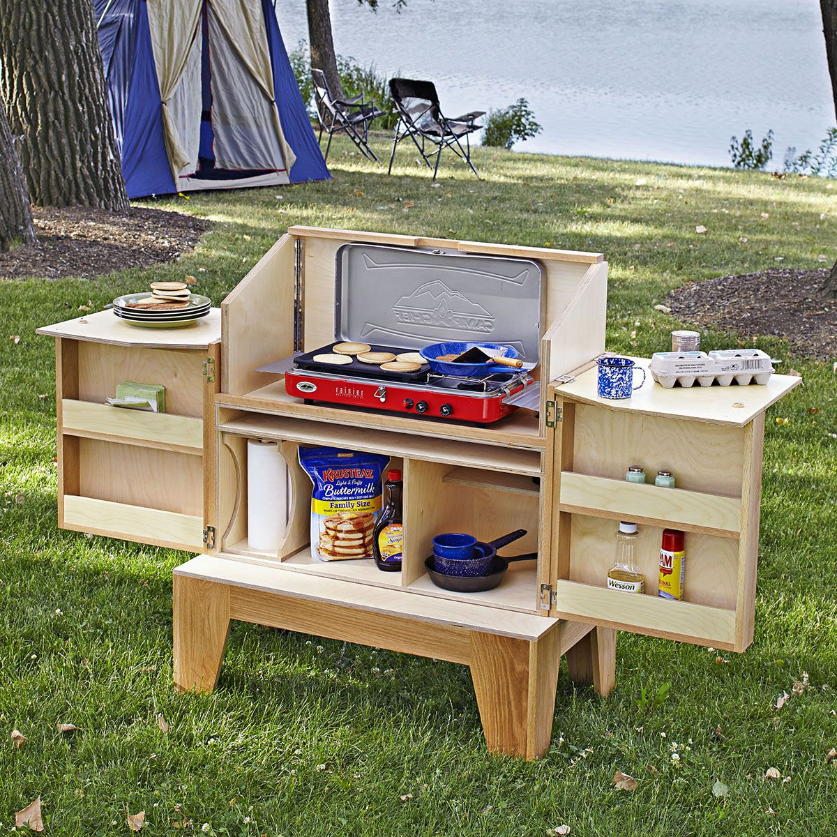 Outdoor Kitchen Ideas For Camping: Camp Kitchen Woodworking Plan. Stash All Your Campground