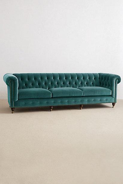 Peacock Blue Velvet Grand Lyre Chesterfield Sofa Chesterfield Grand Sofa Velvet Furniture Sofa