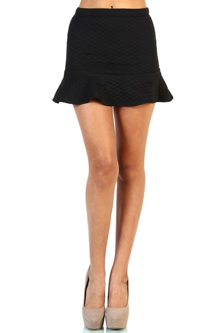Quilted mini skirt - Black