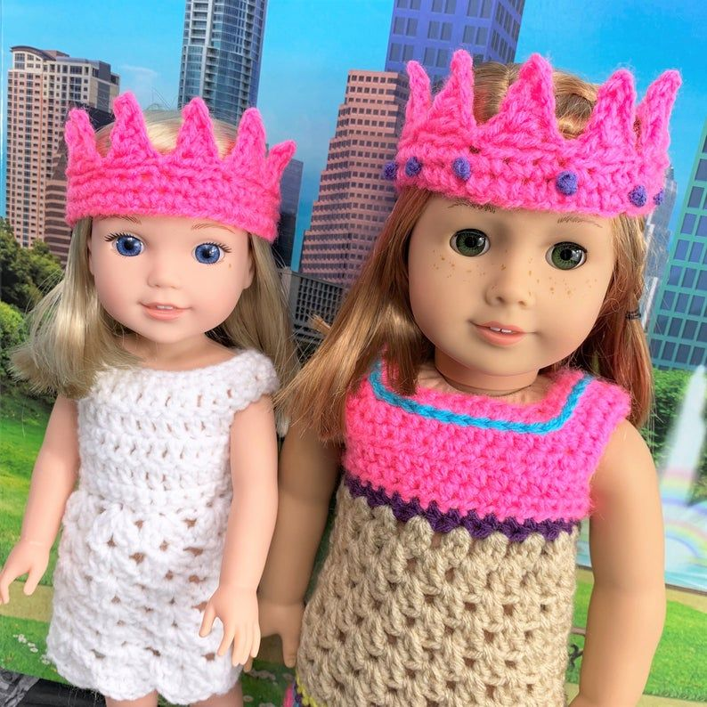 18 Doll Princess Crown Crochet PDF pattern, 14.5 Doll Princess Crown crochet pattern, crochet pdf pattern, crochet doll clothes pattern #crownscrocheted