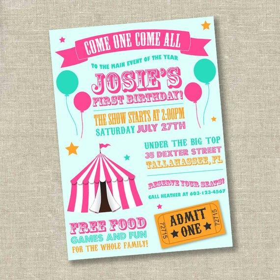 Girl Circus Invitation Birthday Carnival Invi