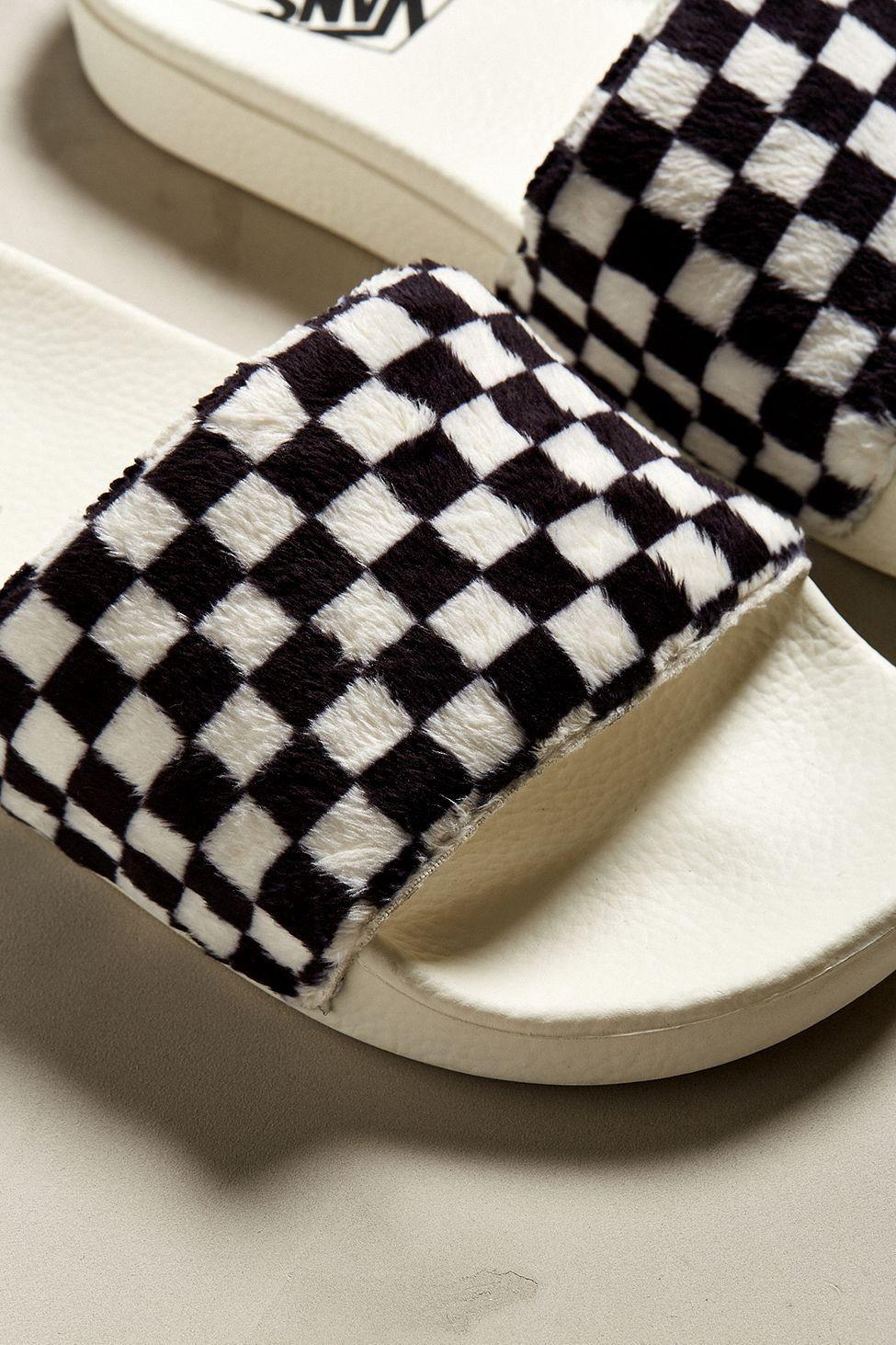 7860395da630 Urban Outfitters Vans Slide-On Checkerboard Sherpa Sandal - M 10 W 11.5