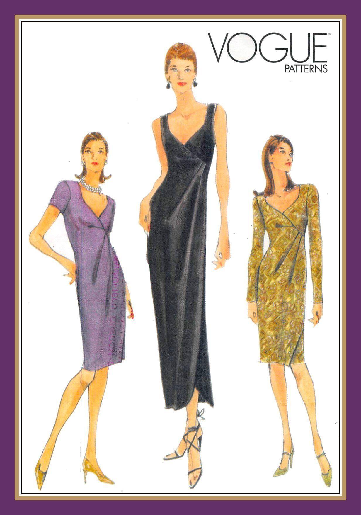 Vintage 1998 Evening Wrap Dress Vogue Sewing Pattern Bias Etsy Evening Wrap Dress Vogue Sewing Patterns Vogue Dress [ 1757 x 1232 Pixel ]