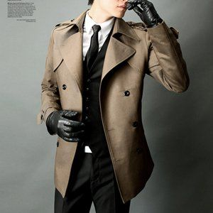 Jacket + black leather gloves...perfect for any villain.   Trench coat men, Jackets  men fashion, Mens coats