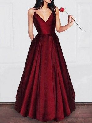 Photo of A-Line V-neck Floor-Length Burgundy Prom Dresses