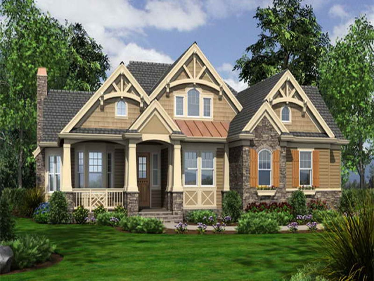 One Story Craftsman Style House Plans Bungalow Single Storey Arsitektur House Mandi