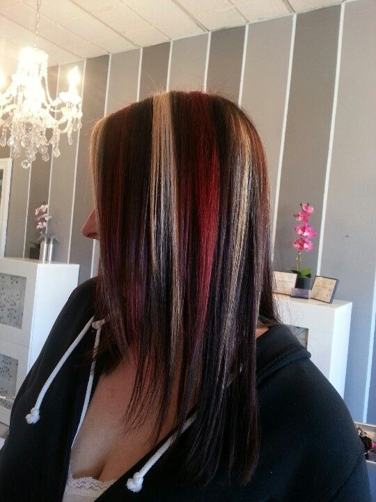 Platinum Chunky Highlights Bright Red Dark Brown Hair3