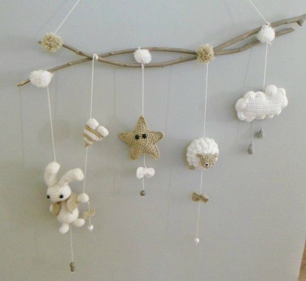 pompom pi doux mon mobile au crochet oh bout du fil crochet croch ganchillo et. Black Bedroom Furniture Sets. Home Design Ideas