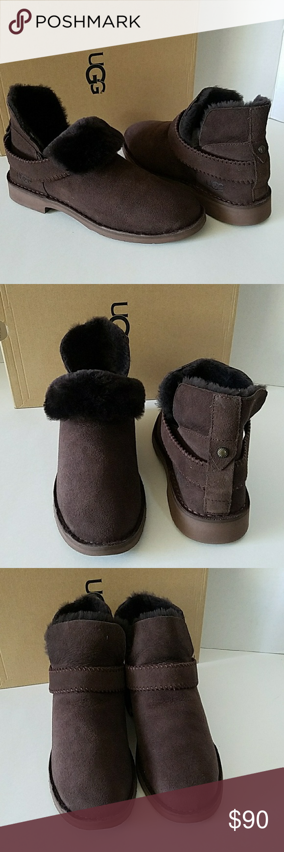57302ba77e7 UGG Mckay Chocolate Suede Sheepskin Ankle Boots **Red mark on tags ...