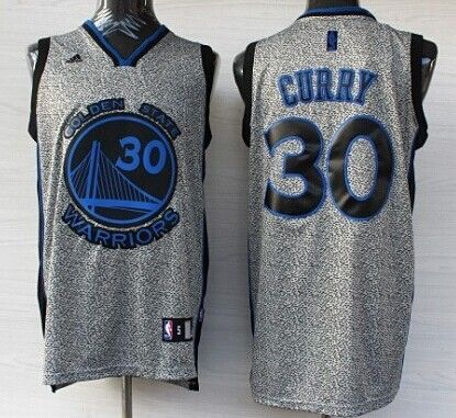 Golden State Warriors #30 Stephen Curry Gray Static Fashion Jersey