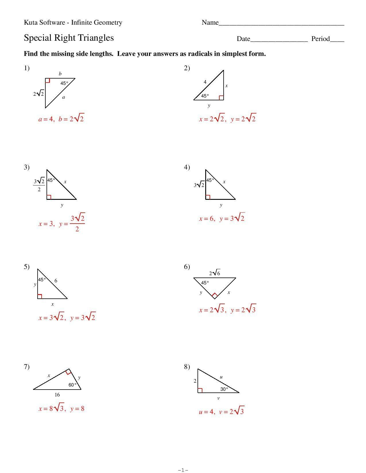 5 8 Special Right Triangles Worksheet Pin On 4 Test In