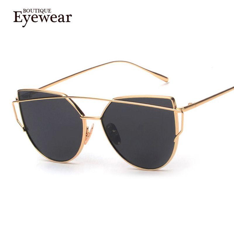 부티크 새로운 여성 6 컬러 럭셔리 고양이 눈 선글라스 여성 선글라스 더블 데크 합금 프레임 UV400