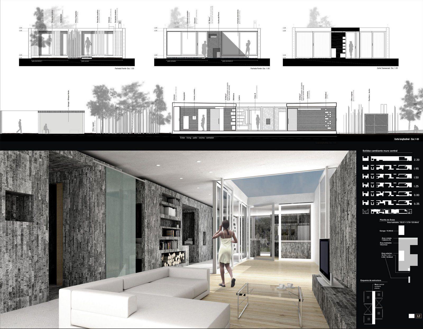 Casa 2006 casa de arquitectura rifa representacion for Laminas arquitectura