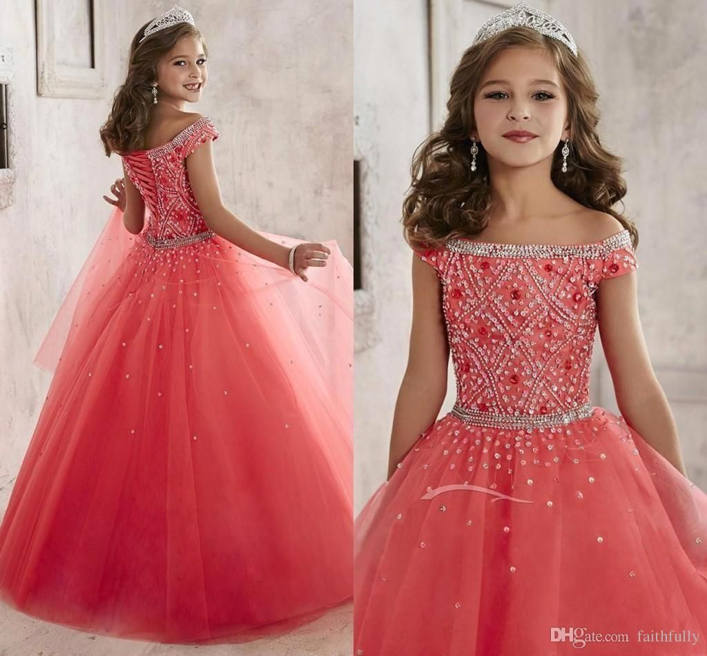 2017 Sparkly Off The Shoulder Beaded Crystal Pageant Dresses For ...