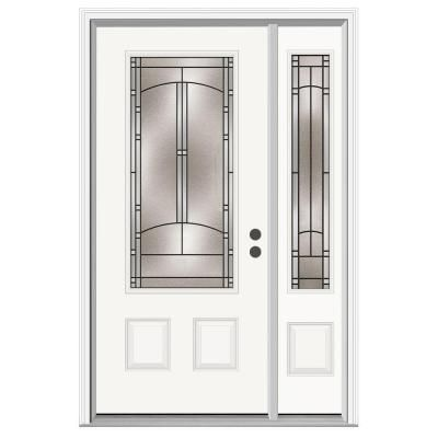 Jeld Wen Idlewild 3 4 Lite Primed Steel Prehung Front Door With 12 In Sidelites H30637 The Home Depot Steel Entry Doors Front Door Primed Doors