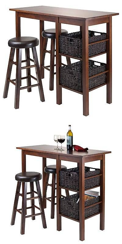Awesome Sets 98478: 5 Piece Egan Set Breakfast Table With Baskets And Cushion  Stools Wood/