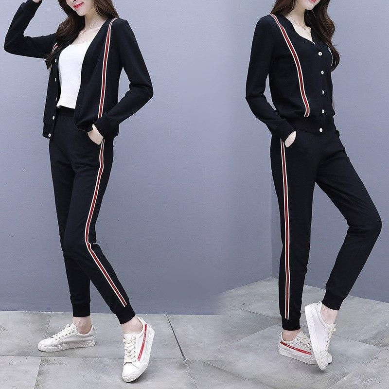 Summer Tide Girl Print Striped Cropped Trousers Cotton Sports Two-Piece Suit