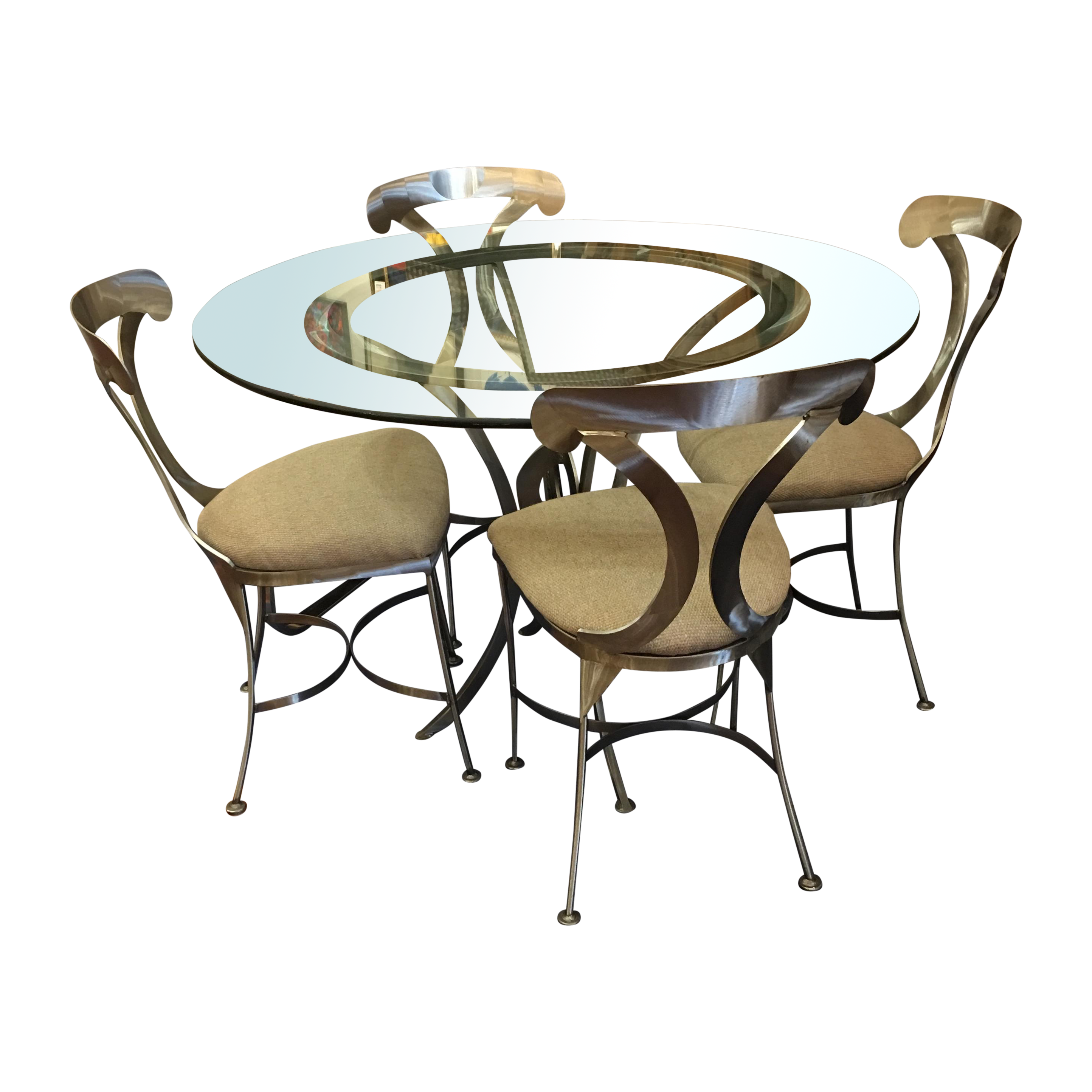 ... Brushed Stainless Steel Dining Table Topped With Thick Round Glass Will  Seat Four To Five Ever So Comfortably. The Four Matching Chairs Are  Comfortably ...