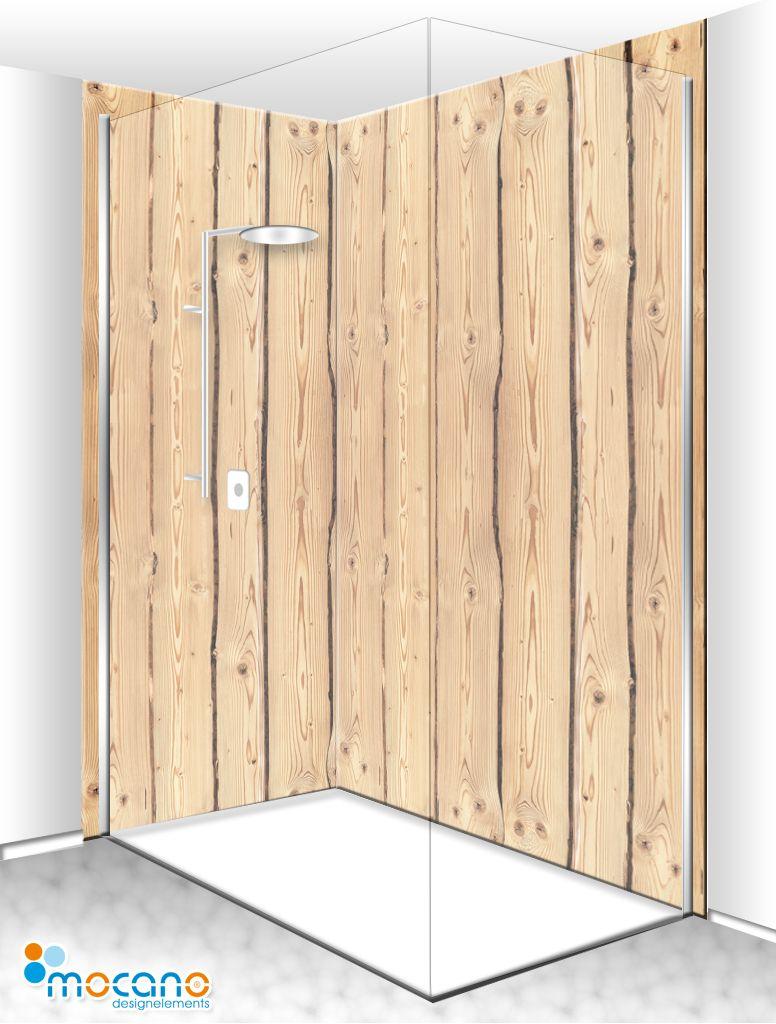 Dusche In Holzoptik Mit Einer Eck Duschrückwand Kombination Von Mocano ®  Designelemente. Holen Auch