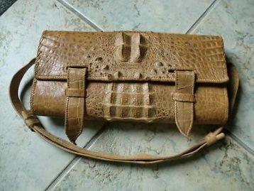 331697f8157 Vintage cognac krokodillenleren tas | vintage tassen
