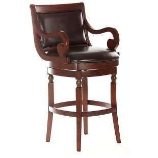 Swivel Bar Stools With Arms Bolton Wood And Brown Leather