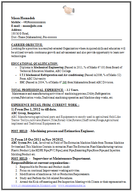 Mechanical Engineering Resume Sample Template Of A Experienced Mechanical Engineer With Great