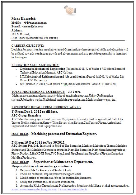 manufacturing resume templates free