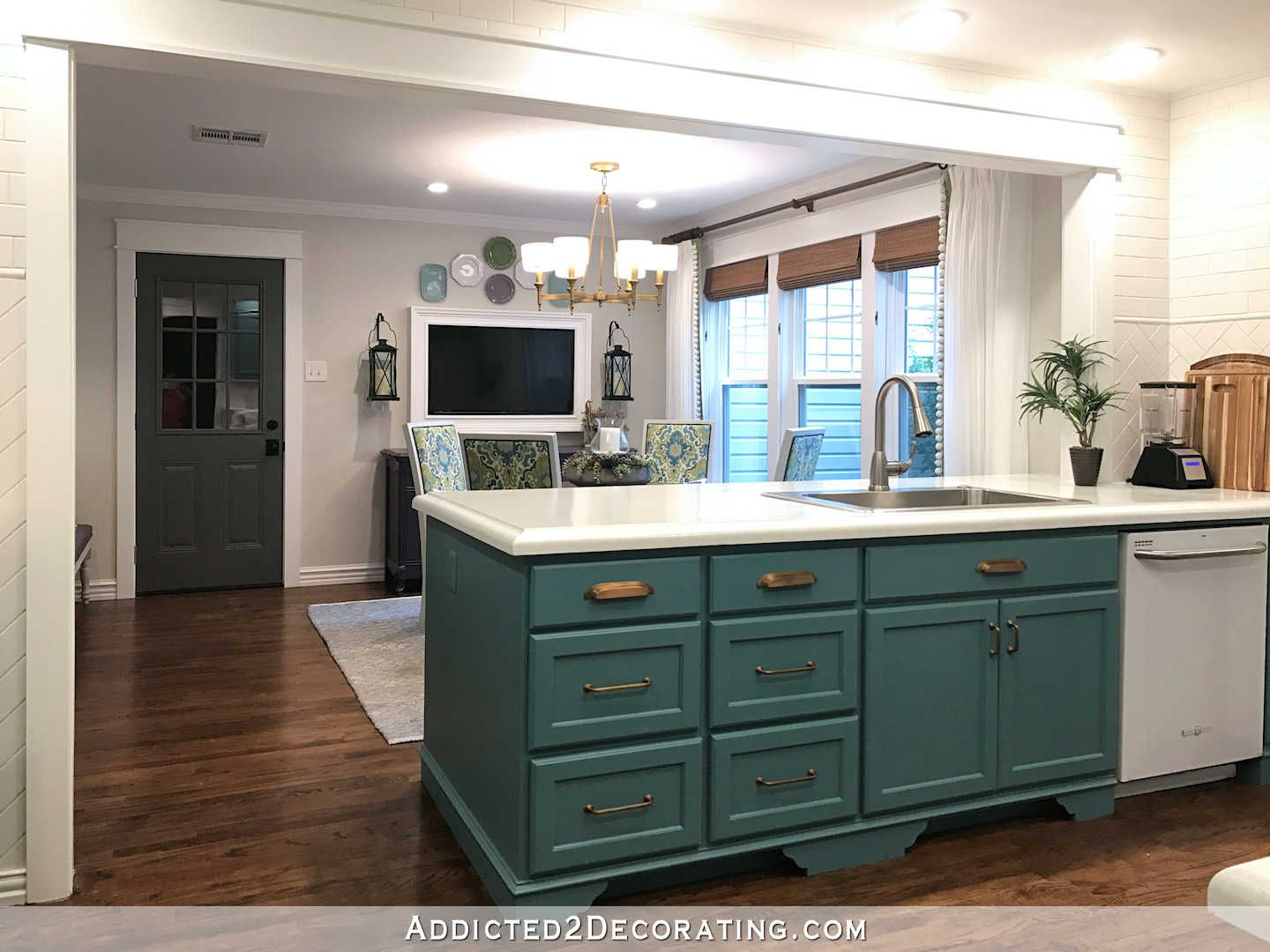 My Finished For Now Kitchen From Kelly Green To Teal Before After Addicted 2 Decorating Teal Kitchen Cabinets Teal Kitchen Kitchen Diy Makeover