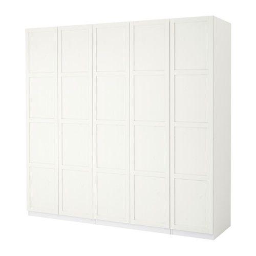 PAX Kleiderschrank, weiß, Hemnes weiß gebeizt 250x60x236 cm Scharnier, sanft schließend