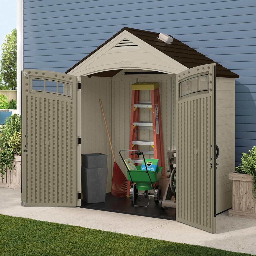 Suncast Vista 7 Ft 4 In X 4 Ft 1 In Resin Storage Shed Bms7402 The Home Depot 500 00 Outdoor Storage Sheds Storage Shed Pallet Shed Plans