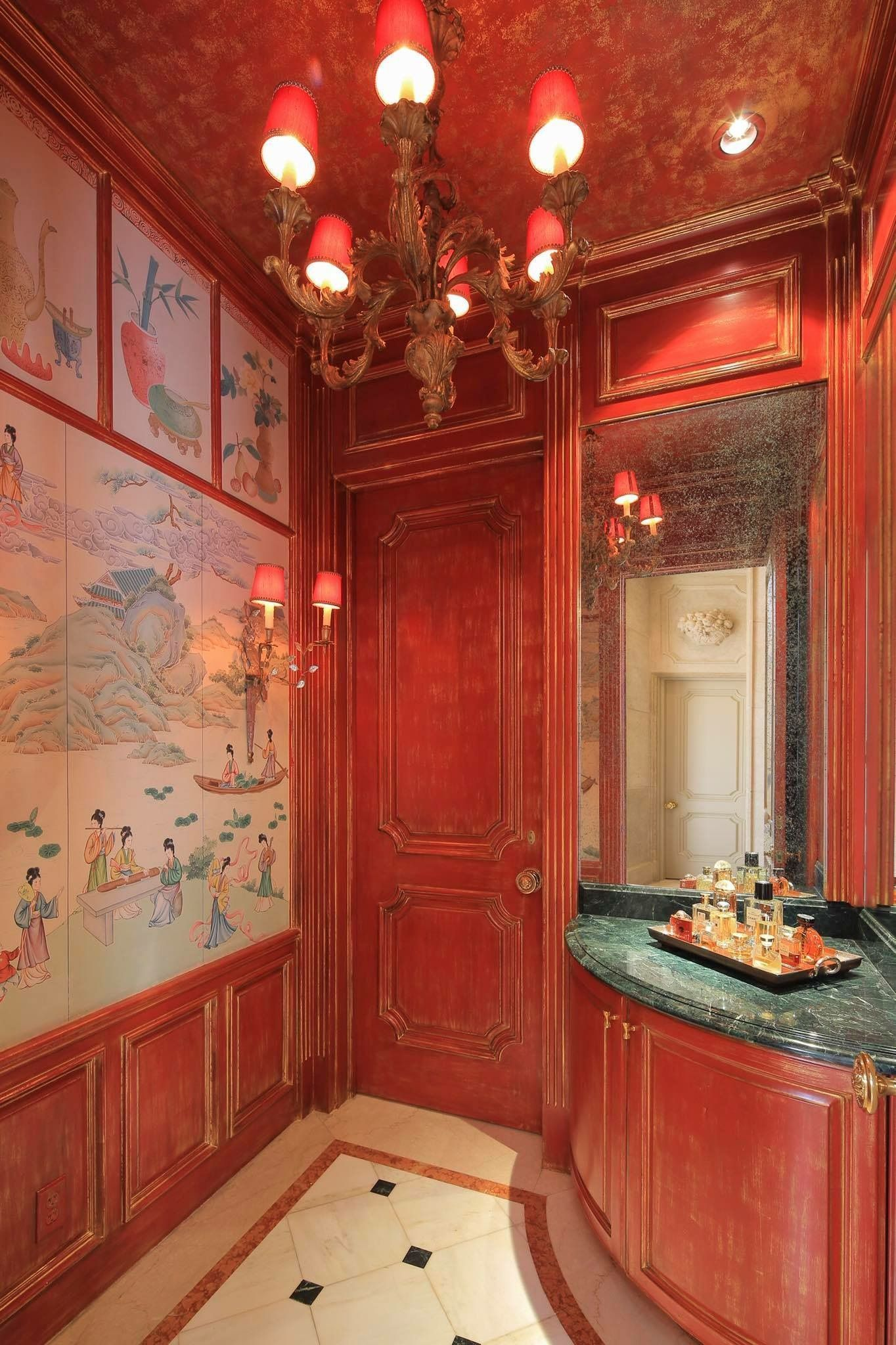 The Stunning Chinoiserie Ladies Powder Room In Cinnabar Red Chinoiserie Is The Imitation Or Evocati Western Furniture Chinese Architecture Beautiful Bathrooms