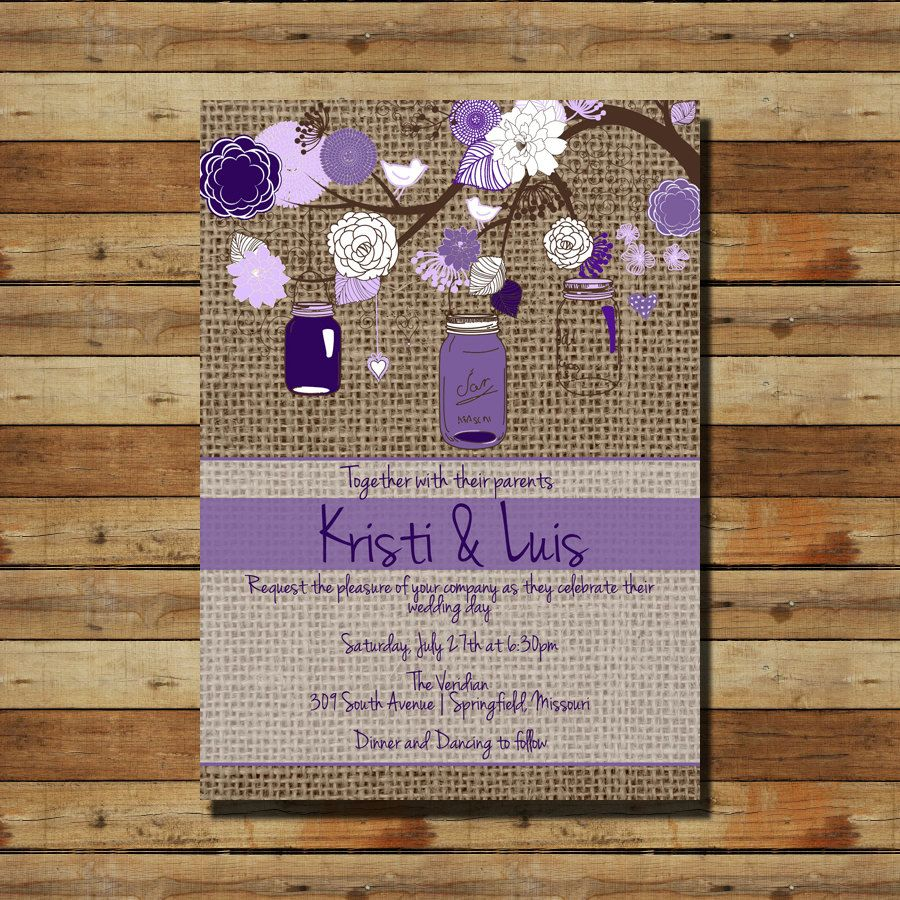 Burlap Wedding Invitation Mason Jars Purple By Sprinklesofsugar