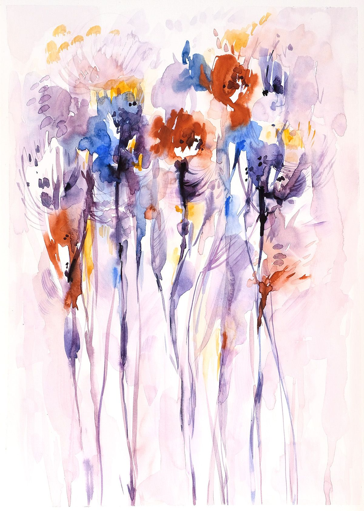 Watercolor Abstract Flower Painting By Lesia Binkin Ilustracao