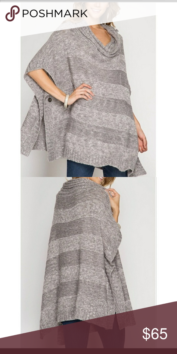 🌸Poncho style sweater top Very pretty. Grey poncho style sweater top with side button. 65% cotton 35% acrylic Numeric size guide S 2-4 M 6-8 L 8-10 Amor Adore Tops