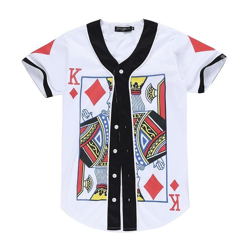 d5198ac0a3d Cotton/Polyester Blended King of Diamonds Jersey Style Button Up Shirt.  Measurement in (CM) Size Shoulder Chest Length Sleeve XXS 41 94 75 18 XS 42  98 77 19 ...
