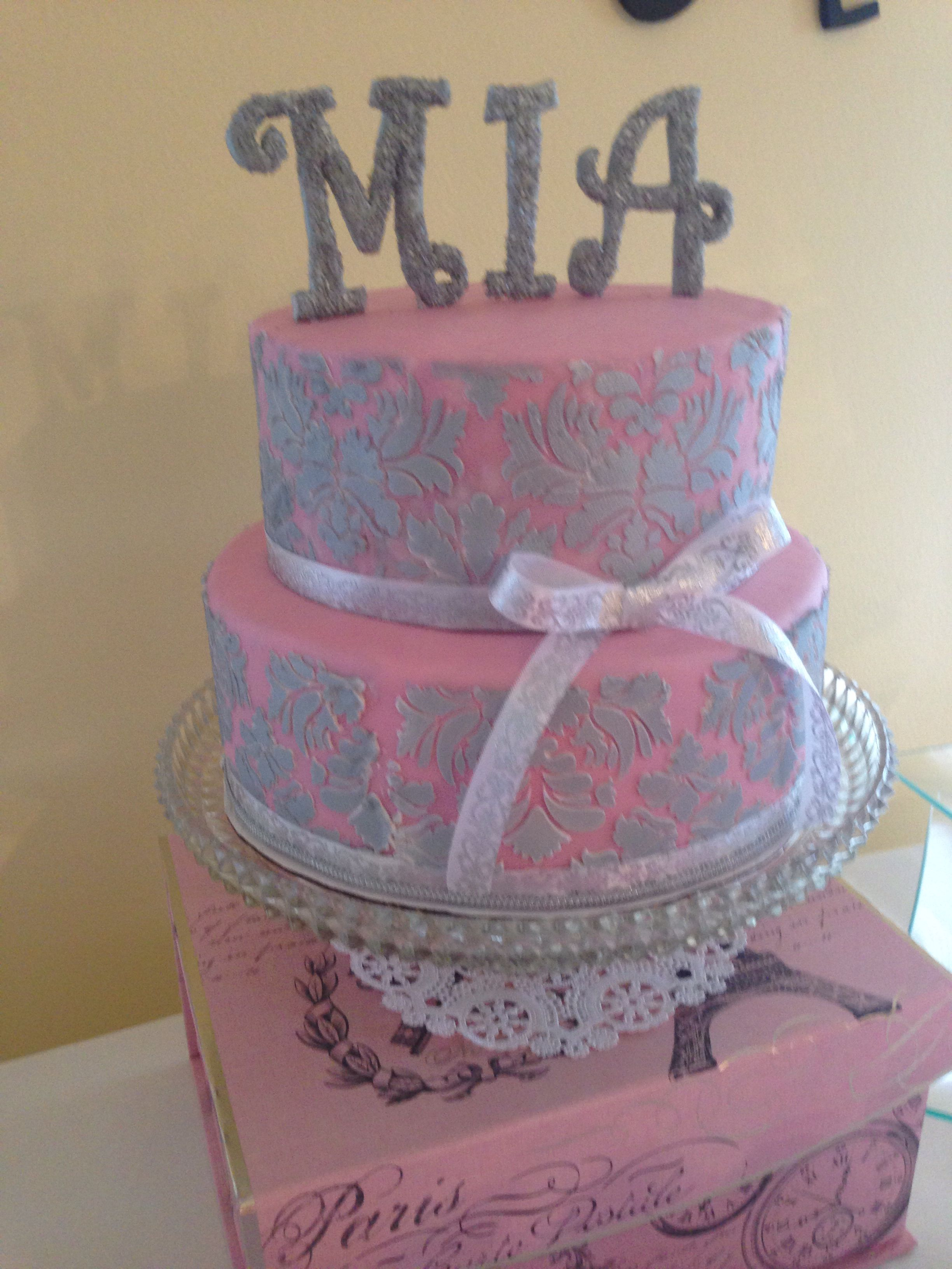 Pink and silver baby shower cake My babes 3