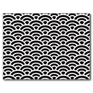 Motif noir et blanc d'art déco cartes postales