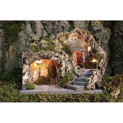 grotta in legno e sughero illuminata | Presepe artigianale