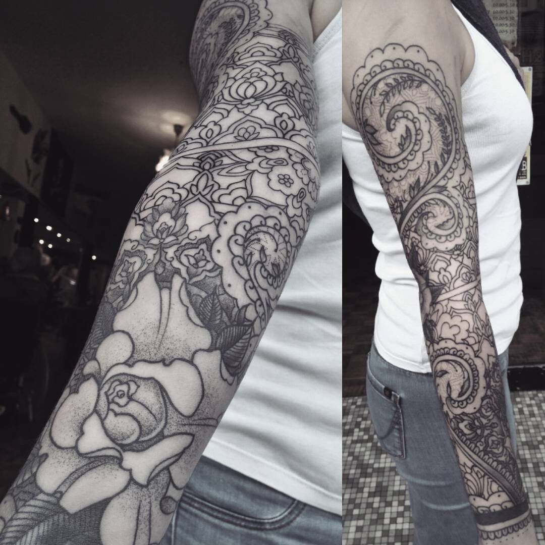 Henna Sleeve Tattoo By Krofty At The Tattooed Arms Alex Krofchak Blackwork Pattern Dotwork Rose Tattoo Women Rose D Henna Sleeve Sleeve Tattoos Tattoos