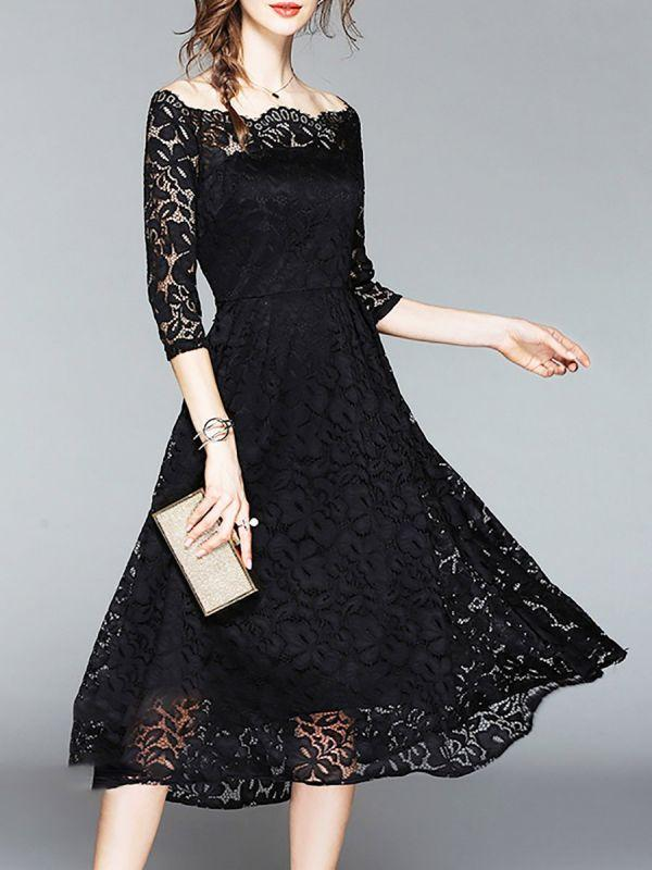e015f7ca632 Solid Guipure Lace Evening Off Shoulder See-through Look Prom Dresses