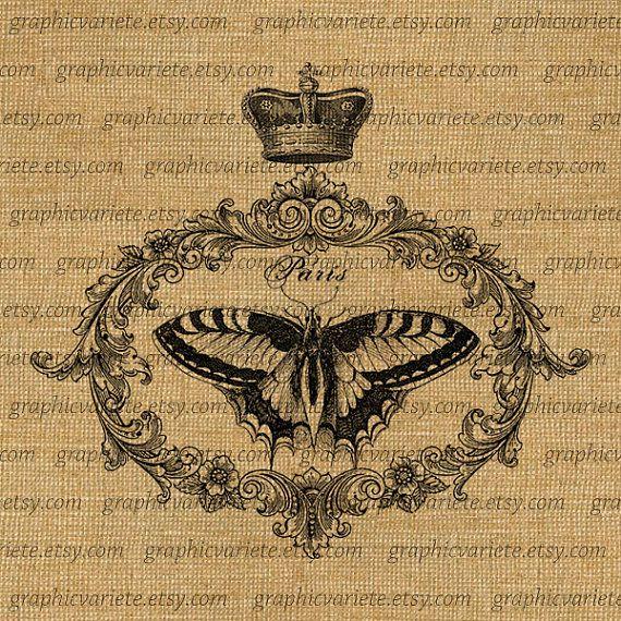 Butterfly Crown Paris Digital Collage Sheet by GraphicVariete, $1.00