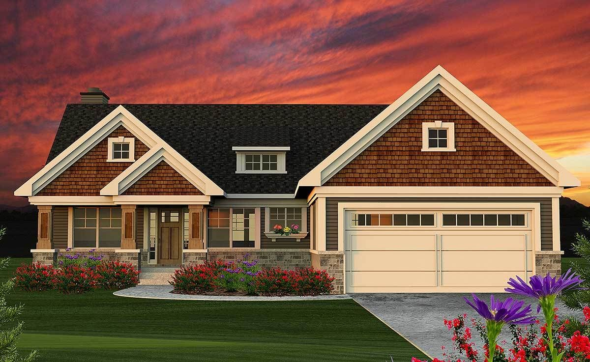 2 Bed Craftsman Ranch Home Plan