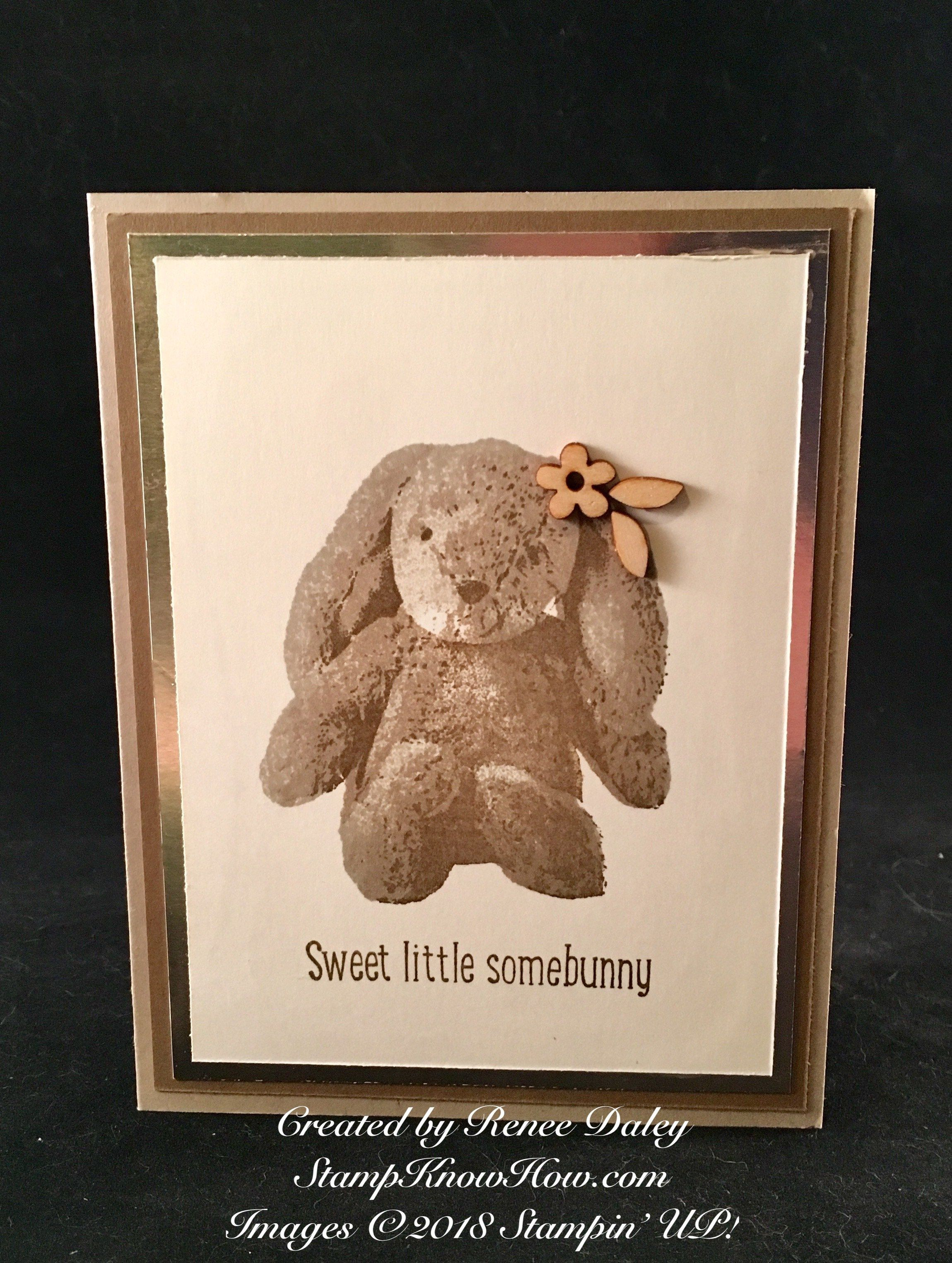 Baby Bunny Card In Sepia Tones Learn Techniques Of Card Making