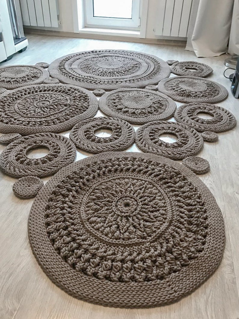 Big Crochet Area Rug 98 1 2 H 73 In Doily Rug Yarn Lace Etsy In 2020 Doily Rug Rug Yarn Crochet Rug